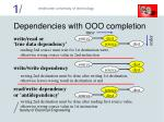 dependencies with ooo completion