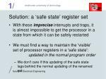 solution a safe state register set