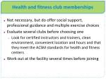 health and fitness club memberships