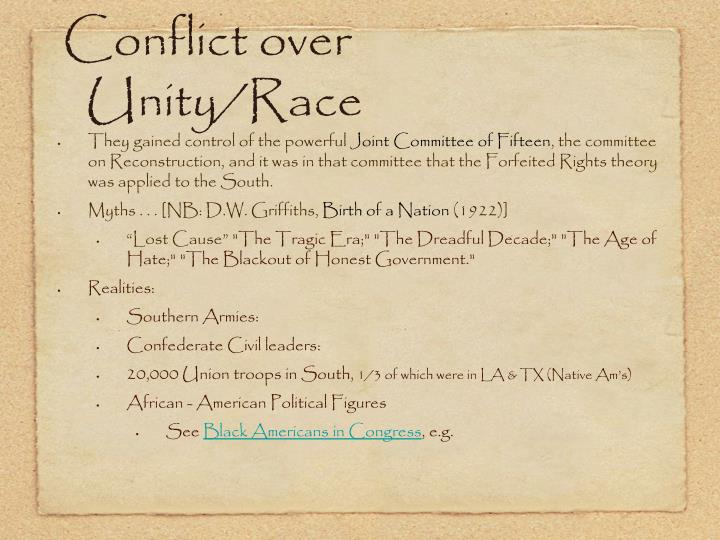 Conflict over Unity/Race