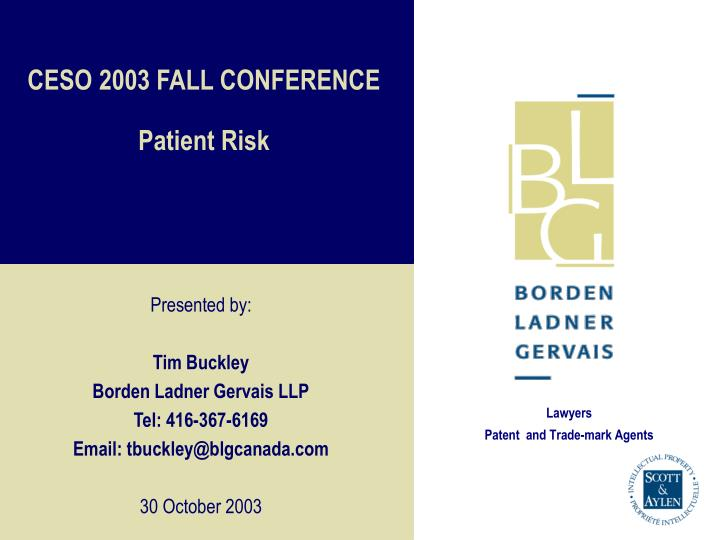 ceso 2003 fall conference patient risk n.