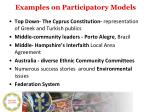 examples on participatory models