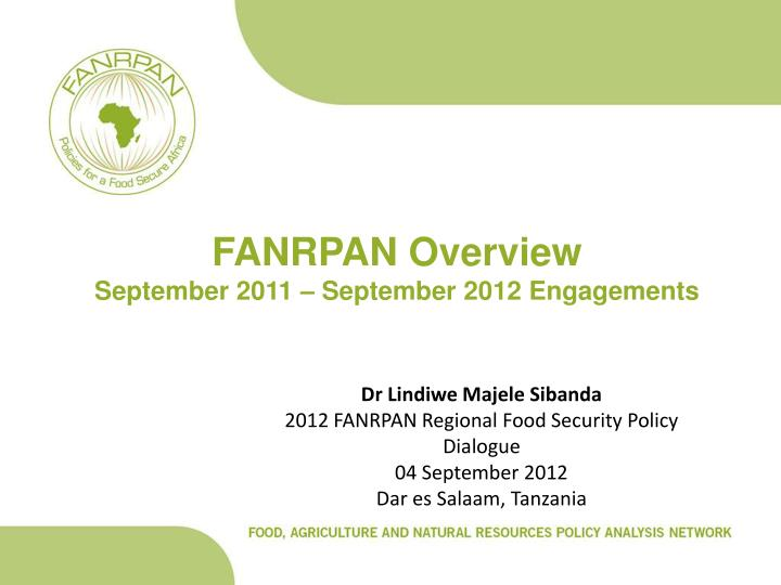fanrpan overview september 2011 september 2012 engagements n.