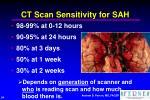 ct scan sensitivity for sah