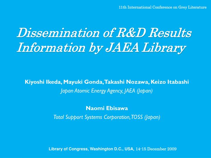 dissemination of r d results information by jaea library n.