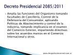 decreto presidencial 2085 2011