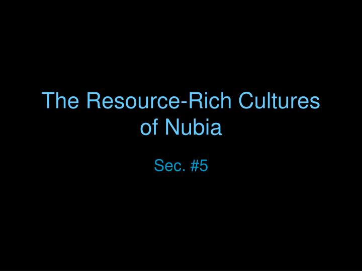 the resource rich cultures of nubia n.