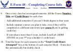 e form 48 completing course info