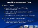 need for assessment tool