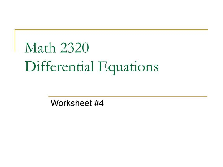 math 2320 differential equations n.