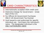 card characteristics