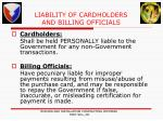 liability of cardholders and billing officials