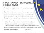 apportionment between land and buildings