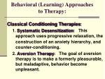 behavioral learning approaches to therapy