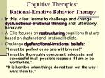 cognitive therapies rational emotive behavior therapy