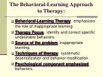 the behavioral learning approach to therapy