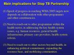 main implications for stop tb partnership