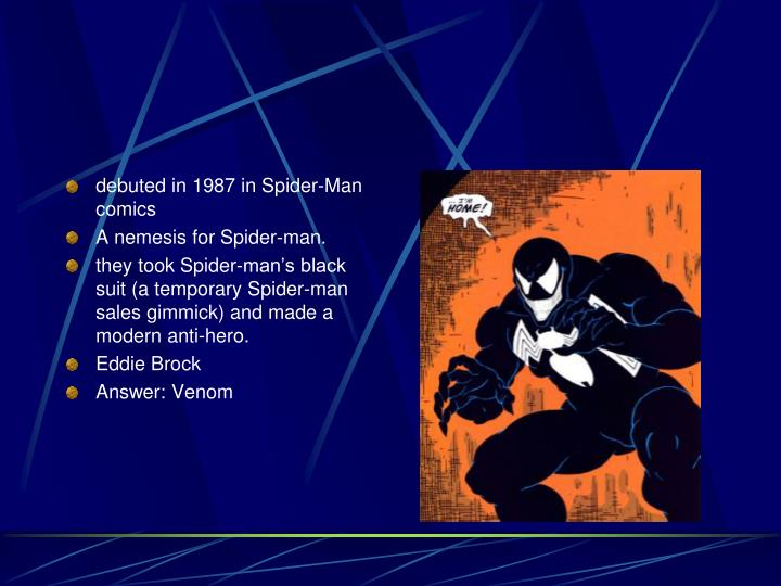 debuted in 1987 in Spider-Man comics