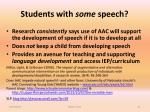 students with some speech