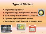 types of mid tech