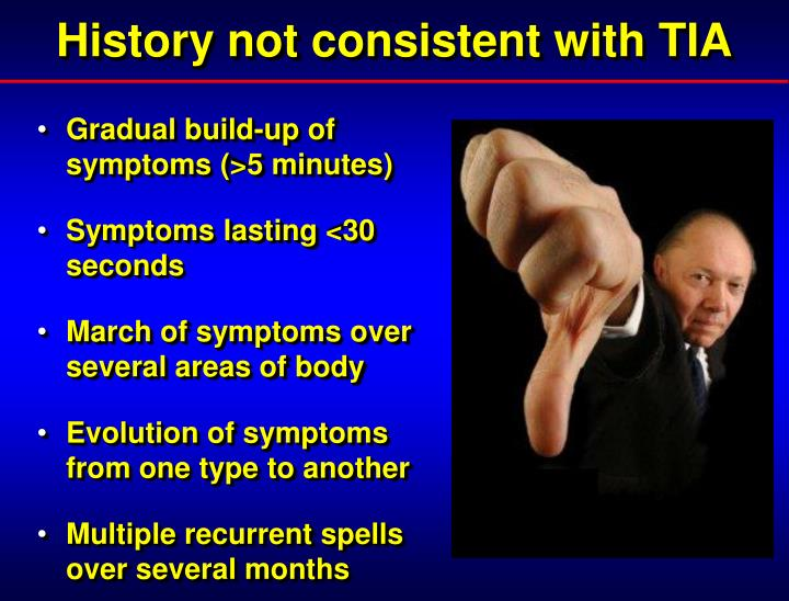 History not consistent with TIA