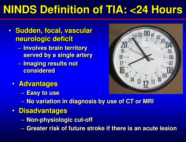 NINDS Definition of TIA: <24 Hours