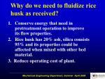 why do we need to fluidize rice husk as received