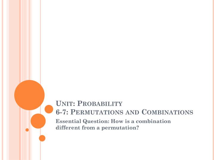 unit probability 6 7 permutations and combinations n.