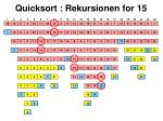 quicksort rekursionen for 15