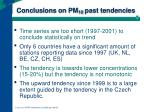 conclusions on pm 10 past tendencies