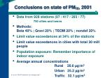 conclusions on state of pm 10 2001