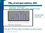 pm 10 at hot spot stations 2001