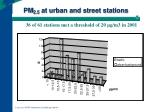 pm 2 5 at urban and street stations