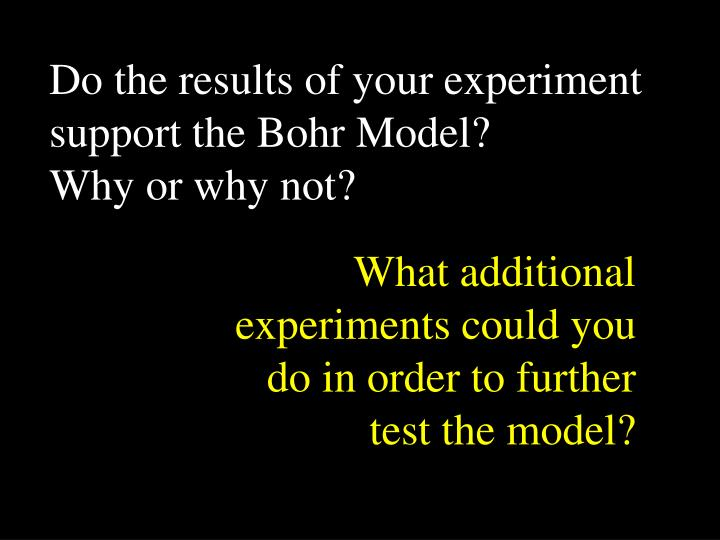 Do the results of your experiment support the Bohr Model?
