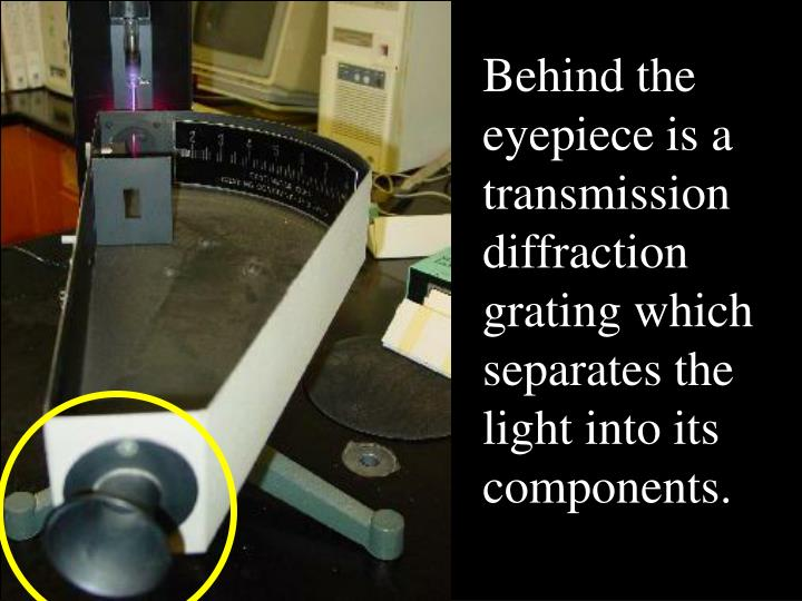 Behind the eyepiece is a transmission diffraction grating which separates the light into its components.