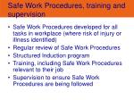 safe work procedures training and supervision