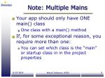 note multiple mains
