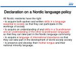 declaration on a nordic language policy