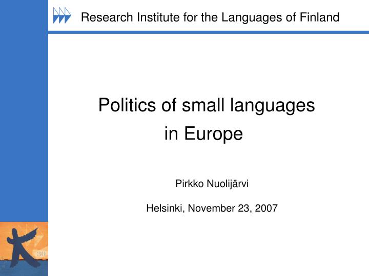 politics of small languages in europe n.