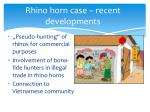 rhino horn case recent developments
