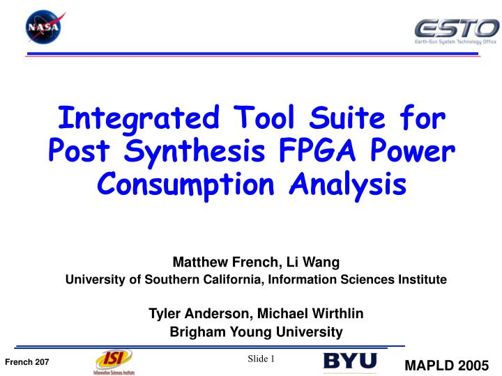 integrated tool suite for post synthesis fpga power consumption analysis n.