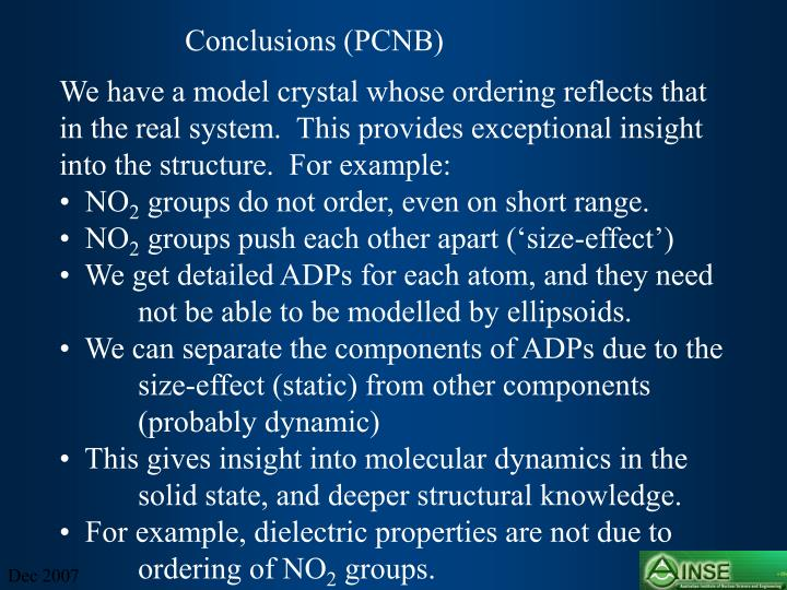 Conclusions (PCNB)