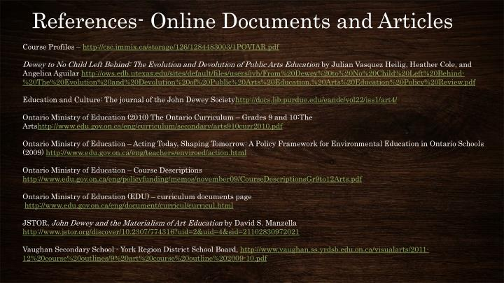 References- Online Documents and Articles