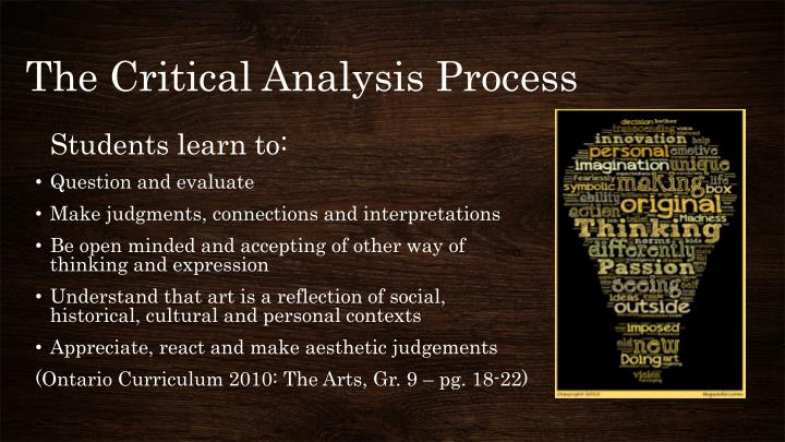 The Critical Analysis Process