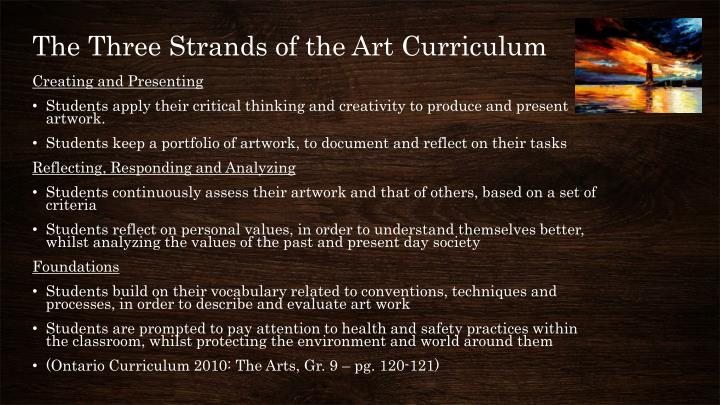 The Three Strands of the Art Curriculum