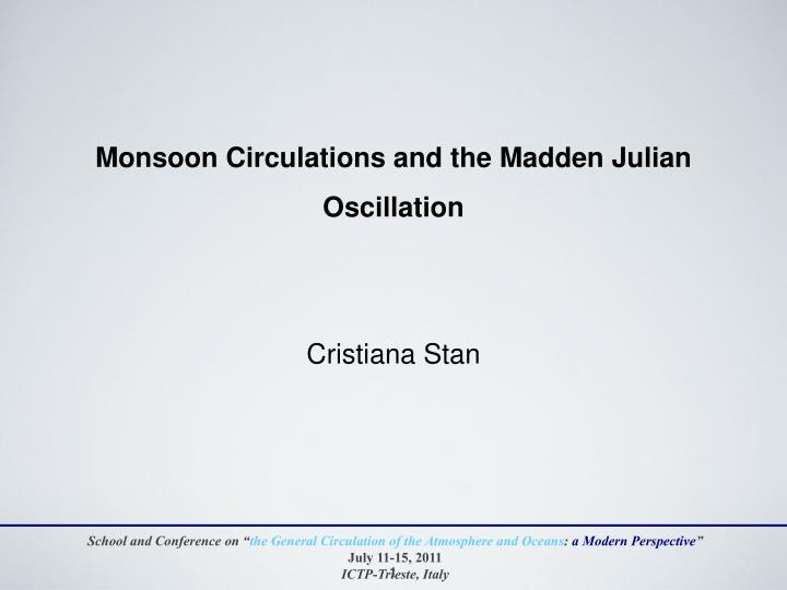 monsoon circulations and the madden julian oscillation n.
