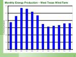 monthly energy production west texas wind farm