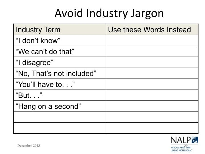 Avoid Industry Jargon