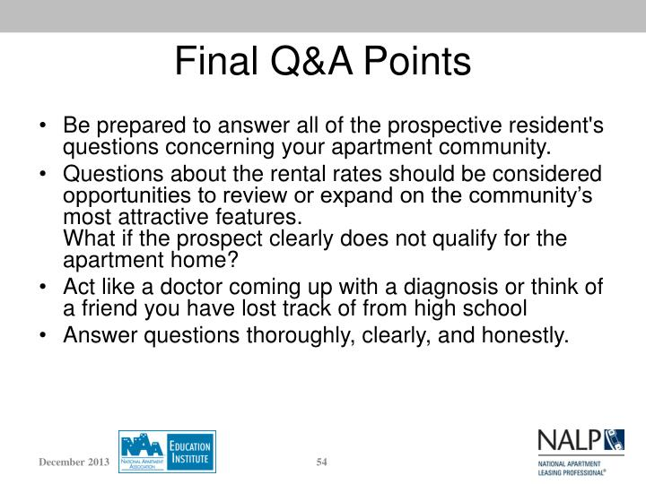 Final Q&A Points