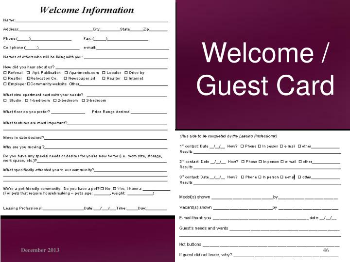 Welcome /  Guest Card